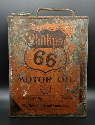Phillips 66 Motor Oil tin Can Bartlesville Oklahoma Petroleum Co. Auto CARS GAS