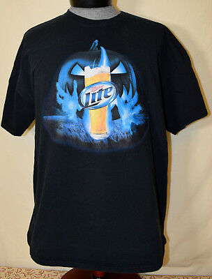 Miller Lite It's Miller Time Halloween XL T-Shirt Black Pumpkin Fire - It's Halloween Time