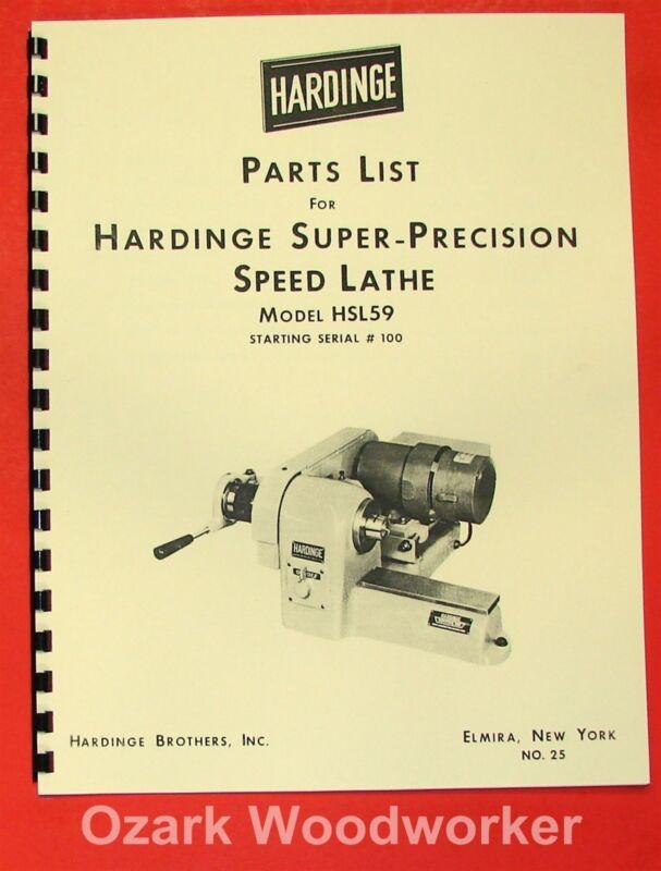 HARDINGE HSL59 Lathe Parts Manual 0345