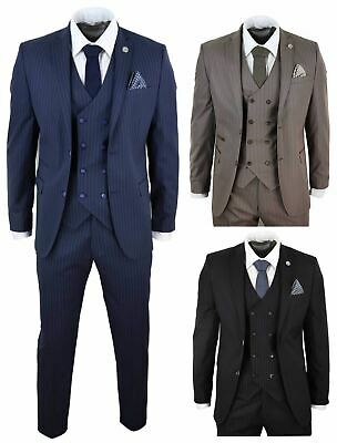 Mens 1920 Suits (Mens 3 Piece Suit Gatsby 1920s Peaky Blinders Mafia Pinstripe Tailored Fit)