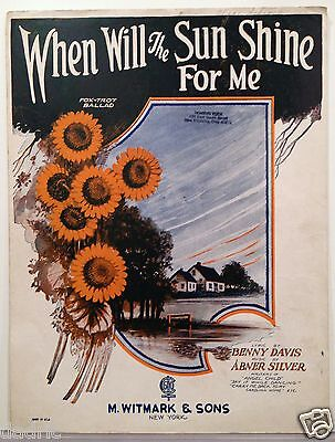 "1923 ""WHEN WILL THE SUN SHINE FOR ME"" ART COVER SHEET MUSIC"