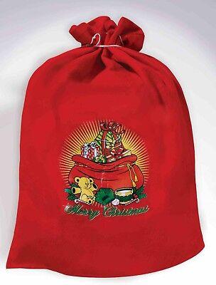 Red Santa's Toy Bag Santa Claus Costume Accessory Sack Christmas Elf Workshop