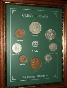 FRAMED 1947 COIN YEAR SET (RETRO 67th BIRTHDAY PRESENT WEDDING ANNIVERSARY GIFT)
