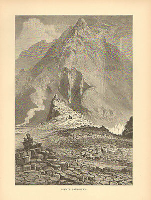 Ireland  Giants Causeway  Landscape  Mountain Vintage  1875 Antique Art  Print