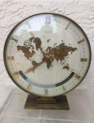 KIENZLE RARE 1960's WORLD TIME ZONE MODERNIST TABLE DESK BRASS CLOCK
