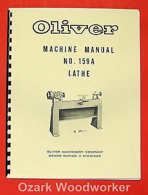 Oliver 1960s 159-a 12 Wood Lathe Operator And Parts Manual 159a 0975