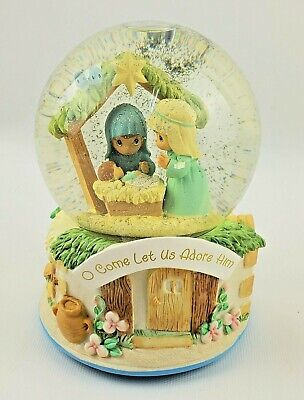 Precious Moments Snow Globe Nativity O Come Let Us Adore Him Plays O Little Town