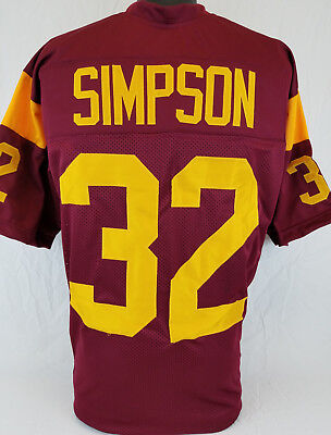O J  Simpson Unsigned Custom Sewn Cardinal Color Football Jersey Size L  Xl  2Xl