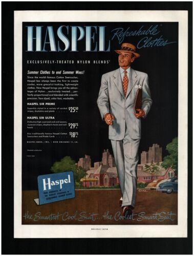 1950 HASPEL Clothes Original Print Ad ~ Free Ship ~ New Orleans Cool Smart Suit