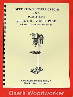 Powermatic 1100 15 Drill Press Operatorpart Manual 0510