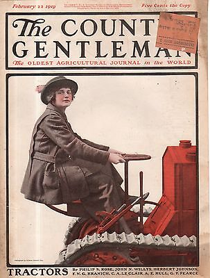 Country Gentleman Cover (1919 Country Gentleman Cover February 22 - Let the women drive the tractors.)