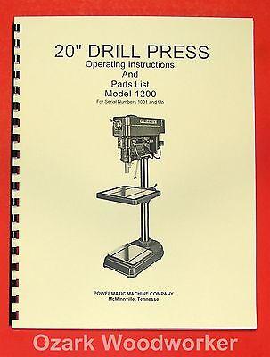 Powermatic 1200 20 Drill Press Operating Part Manual 0514