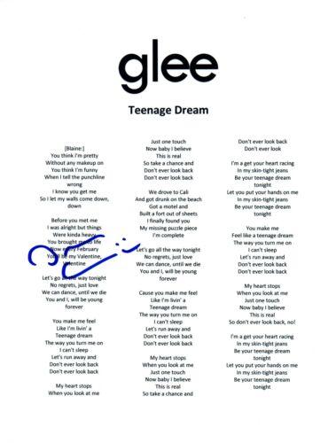 Darren Criss Signed Autographed TEENAGE DREAM GLEE Song Lyric Sheet COA