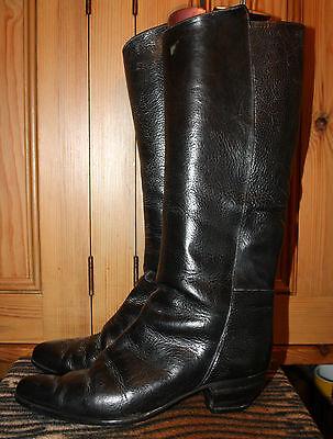 Genuine Vintage Black Leather Cowboy Boots Sz 40 uk 8 vero cuoio Italian leather
