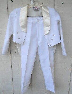 CLASSIC BOYS WHITE LONG TAIL TUXEDO 2 PIECE SUIT SIZE BOYS 7 MADE BY GRACE KIDS - Boys Classic Tuxedo Suit
