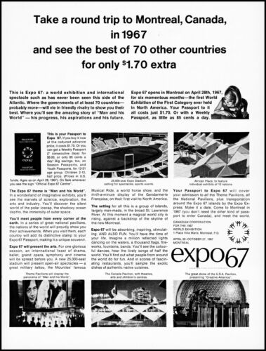 1966 Expo 67 Montreal Canada World Exhibition 1967 retro photo print ad LA10