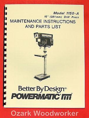 Powermatic 1150a 15 Drill Press Operate-part Manual 0513