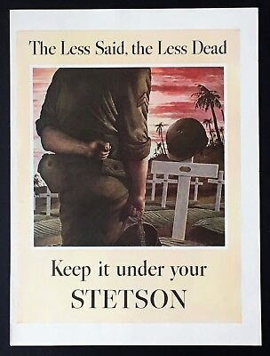1944 Stetson Hat Advertisement WW II Grave Solider Less Said Less Dead Print AD