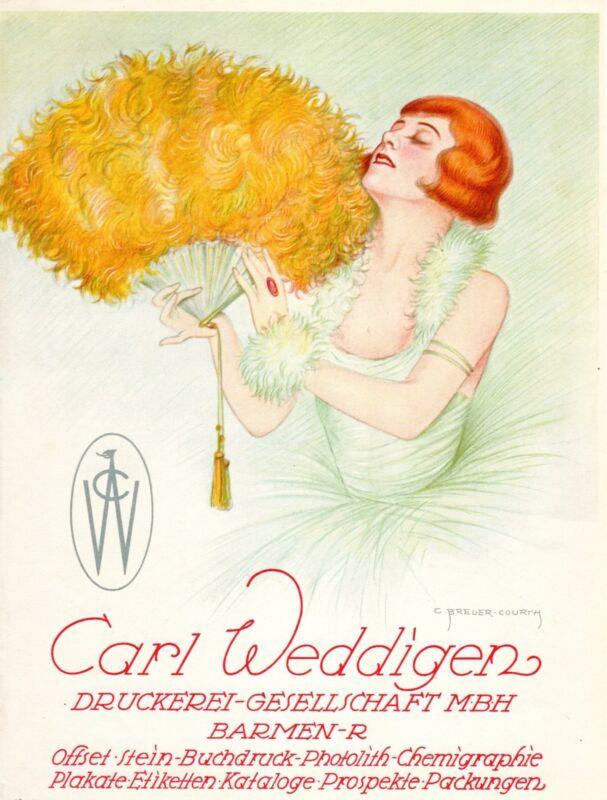 ADVERTISEMENT PRINTING 1929 CARL WEDDIGEN ARTIST-SIGNED C. BREUER-COURTH