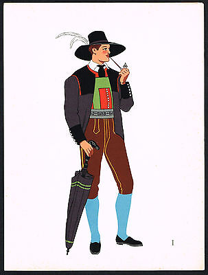 1930s Vintage Pfitsch Austria European Man's Clothing Pochoir Art Print