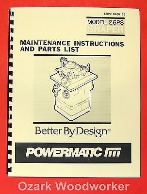 Powermatic 26ps Shaper Instructions And Parts Manual 0527