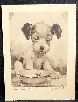 1942 Puppy Calendar J.KNOWLES HARE Be-lieve me! Michaels Jewelers Hartford CT