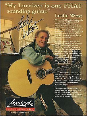 Leslie West (Mountain) Larrivee Jumbo acoustic guitar ad 8 x 11 advertisement
