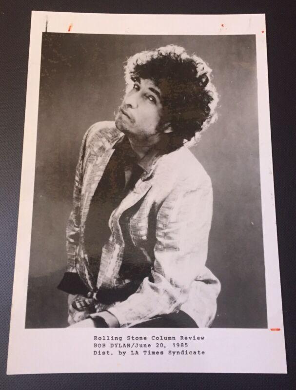 VINTAGE BOB DYLAN PRESS PHOTO JUNE 20 1985 ROLLING STONE COLUMN EDITOR NOTES 5X7
