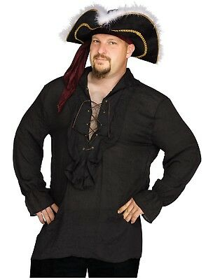Swashbuckler Pirate Vampire Shirt Adult Costume Accessory, Black, Plus Size - Vampire Pirate Costume