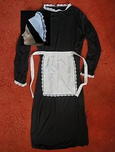 MEDIUM-ADULTS-42in-VICTORIAN-MAID-COSTUME-DRESS-APRON-SCARF-HAT-downton-abbey