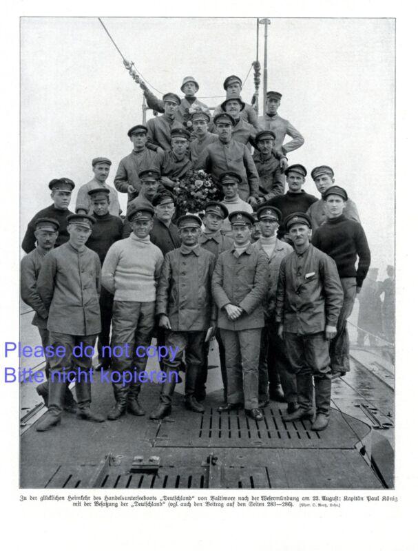 Submarine crew German U 155 XL photographic image 1916 Baltimore 155 WW 1  xc +