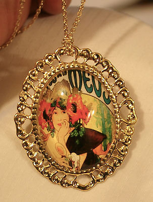 Swirled Goldtn Old Fashion 1920's Lady Advertisement Combination Necklace Brooch