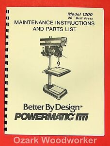POWERMATIC-1200-20-New-Drill-Press-Operators-Parts-Manual-0550