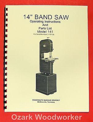 Powermatic 141 14 Band Saw Operating Parts Manual 0515