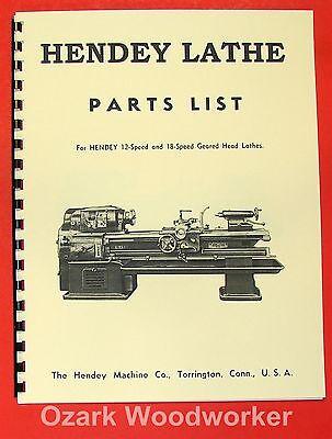 Hendey 16x54 12 18-speed Gear Head Lathe Part Manual 0353