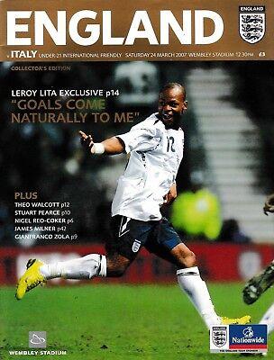 Football Programme>ENGLAND UNDER-21 v ITALY UNDER-21 Mar 2007 @ Wembley