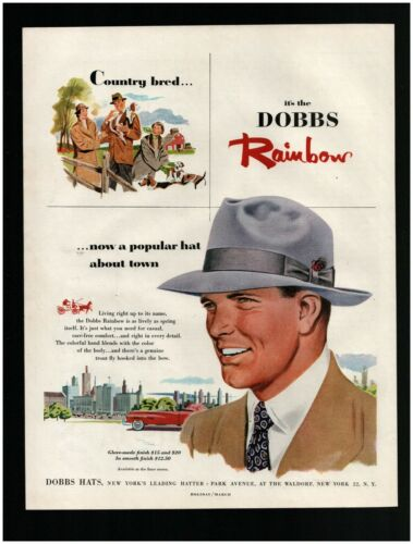 1952 DOBBS Rainbow Hat Original Print Ad ~ Free Ship ~ Hats Park Ave. New York