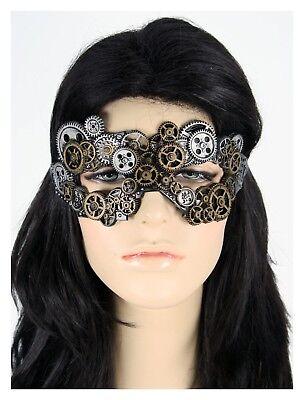 SteamPunk Eye Mask Masquerade Women Men Costume Accessory Gold Silver Gears (Masquerade Costumes Men)