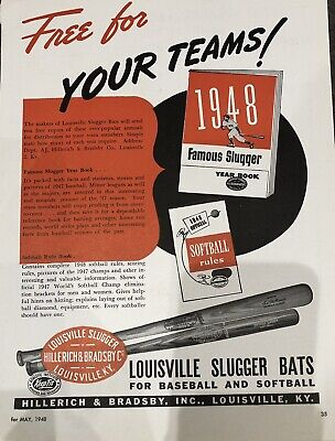 Vintage 1948 Louisville Slugger Advertisement Baseball Bats
