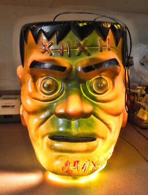 "VINTAGE HALLOWEEN FRANKENSTEIN HEAD HANG & LIGHTUP IN/OUTSIDE DECOR 10x10x12.75"""