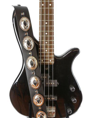 Silver Large Concho Guitar Strap Genuine Leather Punk Goth M