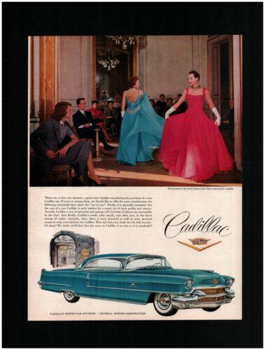 1956 Cadillac Sedan deVille Original Print Ad ~ Free Shipping ~ Blue formal wear