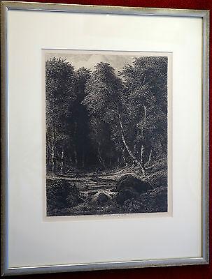 Radierung Carl Wagner, 1854, Im Wald, gerahmt, verglast, in Platte signiert