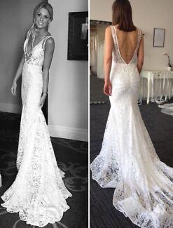 Boho French lace wedding dress 4,6,8,10US $500