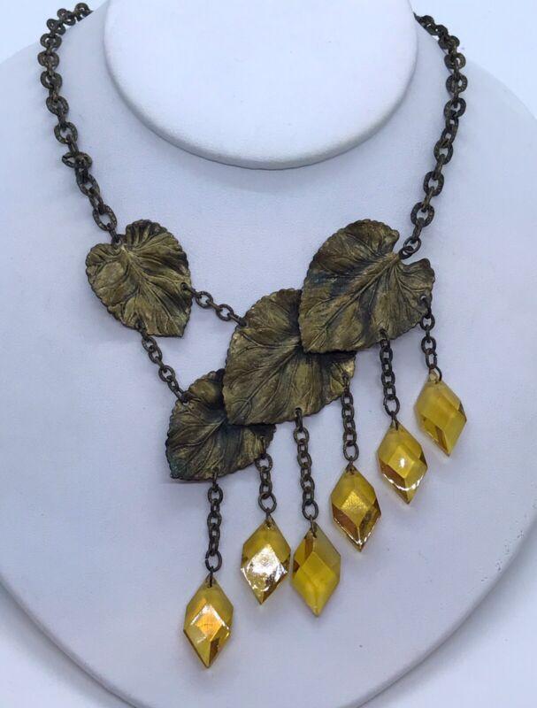 Stunning Vintage Czech Art Nouveau Yellow Glass Leaf Asymmetrical Necklace