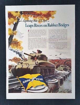 Vintage 1942 Good Year Tire WWII Tank Rubber Bridges Full Page Color Ad