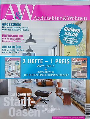 A&W Architektur&Wohnen 2Hefte = 1Preis Ausg.3/2016 Juni/Juli  ungel. 1A abs. TOP