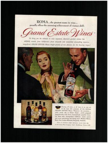 1947 ROMA Grand Estate Wines Original Print Ad ~ Free Ship ~ California Wine