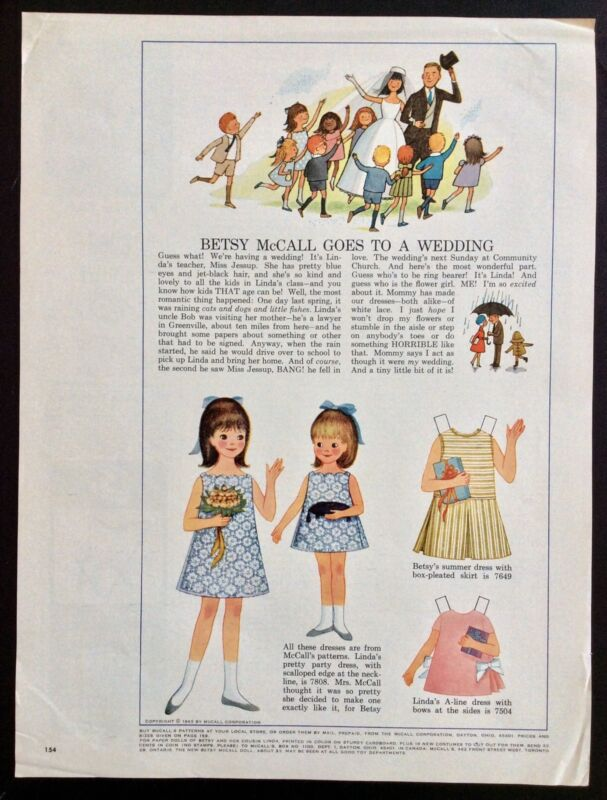 Vintage Betsy McCall Mag. Paper Doll, Betsy Goes to a Wedding, June 1965