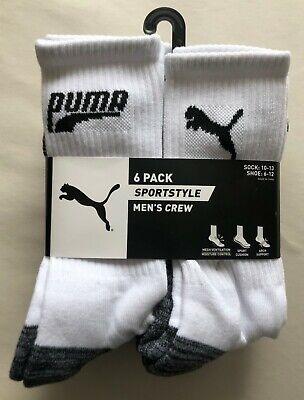 6-Pk Men's Puma Sportstyle Performance Crew Cut Socks White - New! | sz 6-12